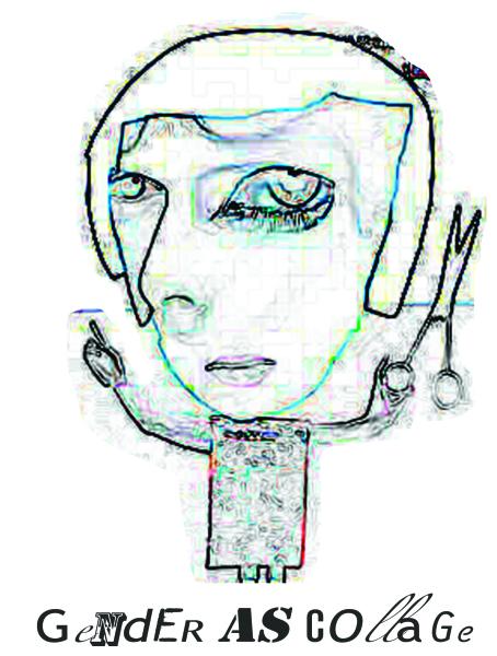 La imagen es un dibujo pixelado de una figura con un cuerpo pequeño y una cabeza grande. Tiene unas tijeras en la mano izquierda. Debajo del dibujo hay un collage de letras de diferentes tipografías que lee en inglés Gender as Collage.